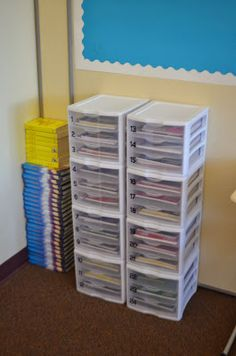 Early Finisher drawers for each student. Differentiated work to target areas needing reinforcement. Great idea... not sure I could do it, but would LOVE to!