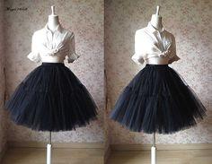 2016 Black Tulle Skirt Horse Hair Tulle Short Black Wedding Skirt Knee Length Princess Skirt. Plus Size Tulle Skirt Romantic Black Skirt