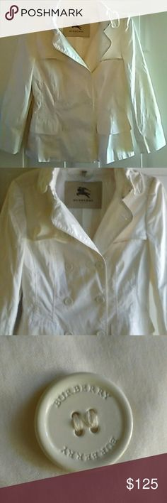 Burberry London White Jacket Trench Coat Burberry London US sz 8, UK sz 10 white double breasted trench jacket.  Excellent condition.  No belt.  Really gorgeous!  Will ship right away.  Check out my other designer items Burberry Jackets & Coats Trench Coats