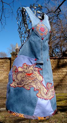 Apron made from the back half of a pair of overalls. This is a project from the Indygo Junction book, Denim Redesign.