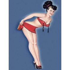 Pin Up Girl Brunette Leaning Over Canvas Art - (18 x 24)
