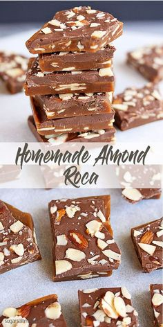 Crisp buttery caramel toffee, filled with almonds and topped with chocolate via Homemade Almond Roca by Sugar Salt Magic. Crunchy, buttery caramel filled with almonds and topped with chocolate. Brittle Recipes, Fudge Recipes, Candy Recipes, Sweet Recipes, Baking Recipes, Dessert Recipes, Holiday Baking, Christmas Baking, Christmas Goodies