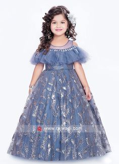 buy online girls gown in india Kids Gown Design, Girls Frock Design, Kids Frocks Design, Baby Frocks Designs, Baby Dress Design, Baby Frocks Party Wear, Kids Party Wear Dresses, Gown Party Wear, Girls Party Wear