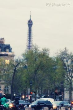 A glimpse of the Eiffel Tower from the Arc de Triomphe