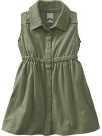 Button-Front Eyelet Jersey Dresses for Baby