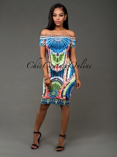 Chic Couture Online - Fantasy Multi-Color Print Off-The-Shoulder Body-Con Dress.(http://www.chiccoutureonline.com/fantasy-multi-color-print-off-the-shoulder-body-con-dress/)