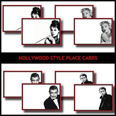 Pinning for idea....to remember...  Hollywood Style Printable DIY Place Cards  by LeslieMarieDesigns