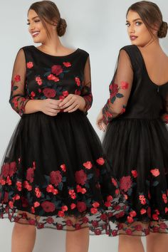 CHI CHI Black Aymie Rose Embroidered Dress With Mesh Sleeves