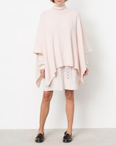 Ryan Roche Poncho Sweater in Pale Apricot
