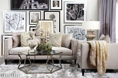 Create a timeless look with a contemporary twist using classical silhouettes and a layered art wall.  Z Gallerie has done it again. Every time I see one of their inspiration rooms I find myself wanting to change my decor! Stunning!
