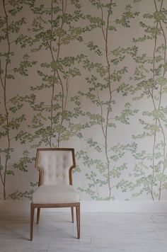 English botanicals, The english Home, Lewis and Wood.   Look to Brian Yates, which proffers tree leaves and ferns in subtle metallic finishes with Nashira and Elixir, whilst Lewis & Wood expands its wide-width wallpaper collection with Beech (above), which helps create a sense of height with its fine branches sprouting upwards. Fired Earth's Secret Garden and Dinner at Eight papers also utilise floral designs.