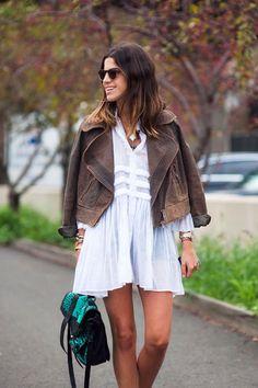Moda vestido chaqueta cuero lino Street style