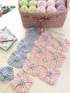 crochet popcorn squares2 - try doing as one whole piece, all white with tiny blue flower