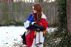 Zara color block blanket scarf