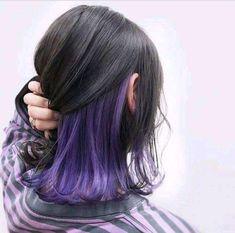 purple uploaded by 쥬 on We Heart It Hair art Hair Color Streaks, Hair Color Purple, Hair Dye Colors, Cool Hair Color, Hair Highlights, Purple Peekaboo Hair, Peekaboo Color, Blonde Streaks, Blonde Hair
