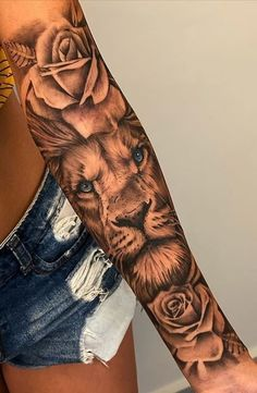 Feminine Tattoo Sleeves, Lion Tattoo Sleeves, Arm Sleeve Tattoos, Sleeve Tattoos For Women, Tattoo Sleeve Designs, Women Sleeve, Men Arm Tattoos, Forarm Tattoos For Women, Tattoo Women