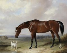 William Barraud (British, 1810-1850) A bay hunter and a terrier in a landscape