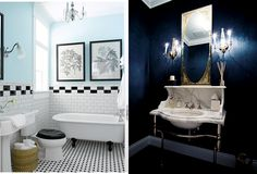 The bathroom on the left is amazing... on the right...... man who is on the dark side??