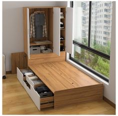 Multifunctional tatami high box storage double bed bookcase wardrobe integrated modern minimalist small a Small Room Design Bedroom, Home Room Design, Home Bedroom, Home Interior Design, Space Saving Bedroom, Small Room Decor, Interior Styling, Minimalist Apartment, Minimalist Bedroom