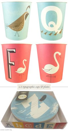 Magpie: A-Z typographic paper cups and plates ... cute right? Just because you're throwing a youngster's party doesn't mean you have to settle for a cartoony theme = )