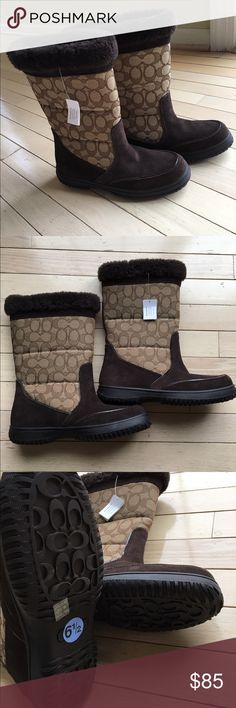 NWT COACH SUEDE/MATERIAL/FUR BOOTS NWT COACH SUEDE/MATERIAL/FUR BOOTS.  Dark brown fur and suede with logo on light tan material.  Fur goes 3/4 of the way down inside of boots.  Rubber tread bottoms   Size 6.5 Coach Shoes