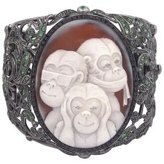 1stDibs: Antique and Modern Furniture, Jewelry, Fashion & Art Fashion Art, Vintage Fashion, Wise Monkeys, Black Rhodium, Modern Furniture, Cuff Bracelets, Fine Jewelry, Brooch, Black Diamonds