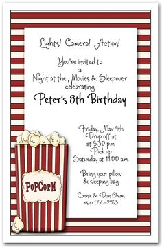 Printable Birthday Invitation Movie Party Invitation Movie Night