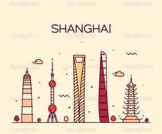 下载 - Shanghai City skyline detailed silhouette. Trendy vector illustration, line art style. — 图库插图 #72756477