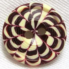 Cranberry & White Celluloid Cookie-wafer Button - France - 1920s