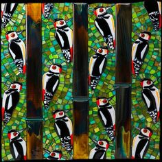 A Descent of Woodpeckers Woodpeckers, Mosaic Art, Fused Glass, Glass Art, Birds, Green Woodpecker, Bird, Nuthatches, Glass Craft