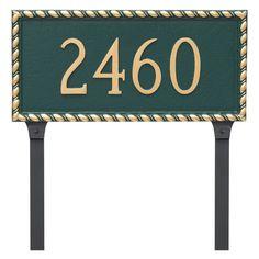 Montague Metal Franklin Rectangle Address Sign Lawn Plaque - PCS-0070S1-L-SBS