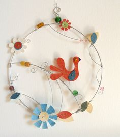 WIre Art Wall Decor BIrd and Flowers Wire by littlebigtopstudio