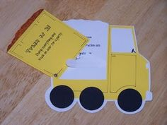 Dump truck party invite. Back tips back to reveal party info underneath.