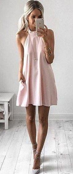 Pastel Pink Halter Little Dress | Kirsty Fleming