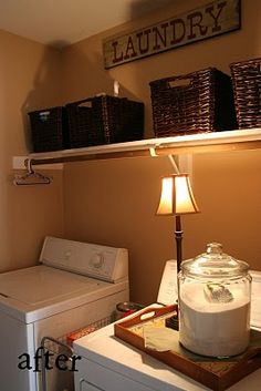 laundry room ideas.. I like the closet rod.. that would be helpful.