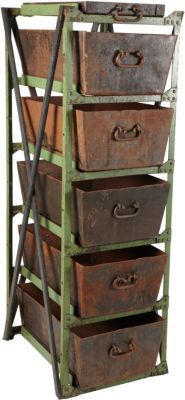 Vintage Industrial Decor iron storage-WANT! Iron Storage, Storage Bins, Storage Ideas, Storage Systems, Craft Storage, Rustic Industrial, Industrial Furniture, Industrial Storage, Antique Furniture