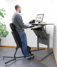 The Most Ergonomic Chair Sit Stand Desk, Sit To Stand, Living Room Chairs, Interior Design Living Room, Dining Chairs, Standing Desk Chair, Standing Desks, Office Workspace, Ikea Office