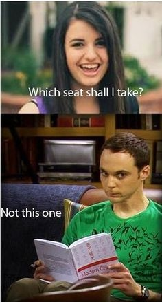 Rebecca better not take Sheldon's seat or there will be hell to pay.