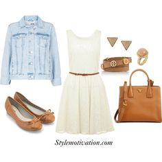white dress denim jacket brown accesorizes spring_15 Stylish Chic Outfit Combinations for Spring
