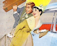 Off to their honeymoon...with a briefcase? Illustration by J. Frederick Smith.