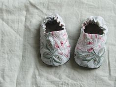 tiny vintage linen baby shoes