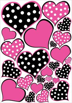 Hot Pink and Black Polka dot Heart Wall Decals Stickers / Childrens Wall Decor Wallpaper For Your Phone, Heart Wallpaper, Love Wallpaper, Cellphone Wallpaper, Iphone Wallpaper, Wallpaper Paste, Heart Wall Decor, Chalk Markers, Wall Decal Sticker