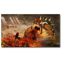 This Mario poster features Mario and Bowser on a high-quality silk fabric poster to create a long lasting and unique poster.  Silk fabric posters have less glare than paper, which makes images and artwork on the poster easier to see and easier to hang lights nearby to prevent glare.