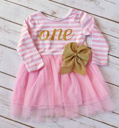 Pink and Gold Tutu, Pink and Gold Dress, 1st Birthday Girl Outfit, Pink and Gold Tutu Dress, Pink and Gold 1st Birthday Outfit, Cake Smash by YourFinalTouch on Etsy