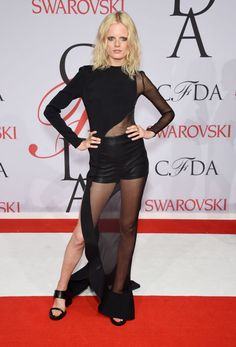 Hanne Gaby Odiele in Esteban Cortazar at the 2015 CFDA Fashion Awards. See all the looks from the night.