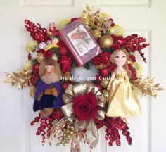 Beauty and the Beast Wreath. As with most of the wreaths I make, this was a Custom order and I was thrilled to make this wreath. This