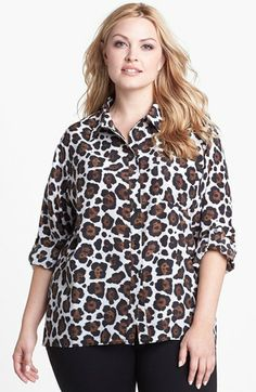 MICHAEL Michael Kors Roll Sleeve Leopard Print Shirt available at #Nordstrom