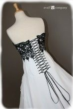 Black and White Wedding Dress Gothic Black Lace - Avail & Company, LLC