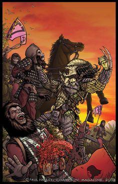 Alien Vs. Predator on the Planet of the Apes by PaulHanley.deviantart.com on @deviantART