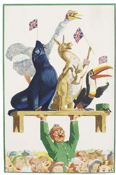 """""""Guinness beer's one-off poster for the Queen's coronation in 1953. Years later I got to the know the artist, John Gilroy, and wrote THE BOOK OF GUINNESS ADVERTISING. The Zoo-keeper and animals all featured in the brand's advertising."""" Brian Sibley"""